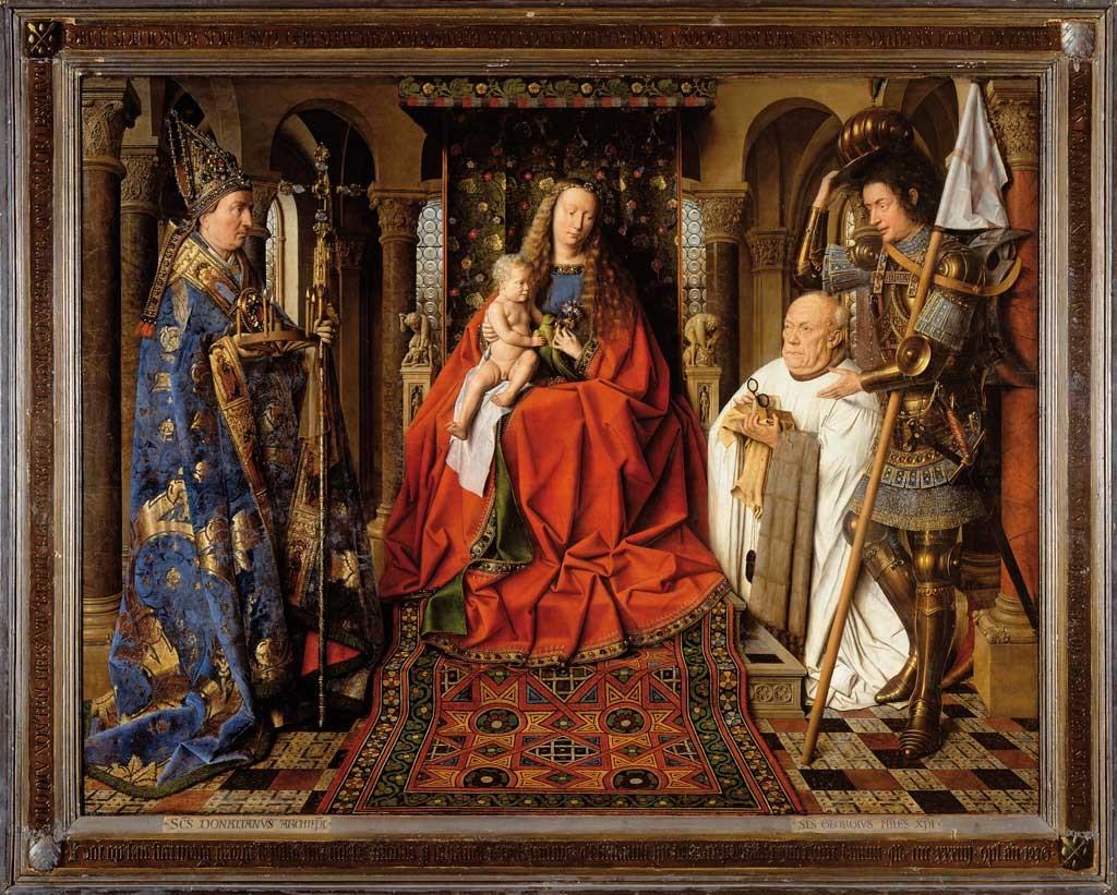 1434-36 Van Eyck La_Madone_au_Chanoine_Van_der_Paele Groeningemuseum, Bruges