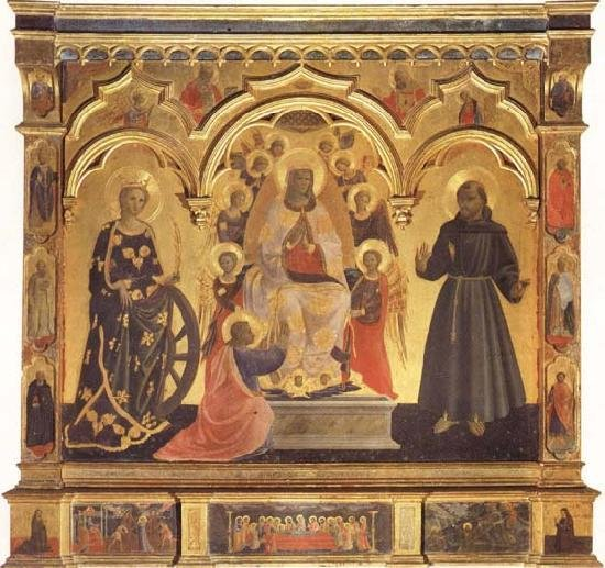 1435 ANDREA DI GIUSTO Madonna della Cintola con Santa Catalina de Alejandría y San Francisco de Asís, Galleria dell'Accademia, Florence