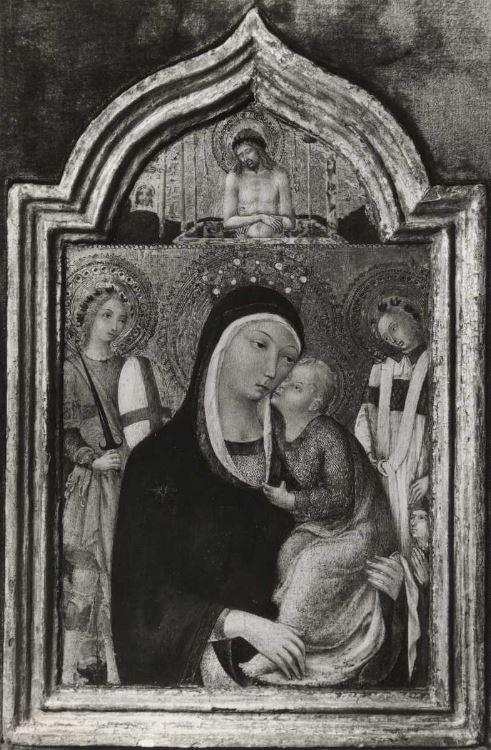 1440-80 Sano di Pietro, Madonna con Bambino tra santi e donatore coll priv