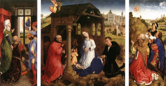 1445-48 Van der Weyden Bladelin Altarpiece Gemaldegalerie, Berlin