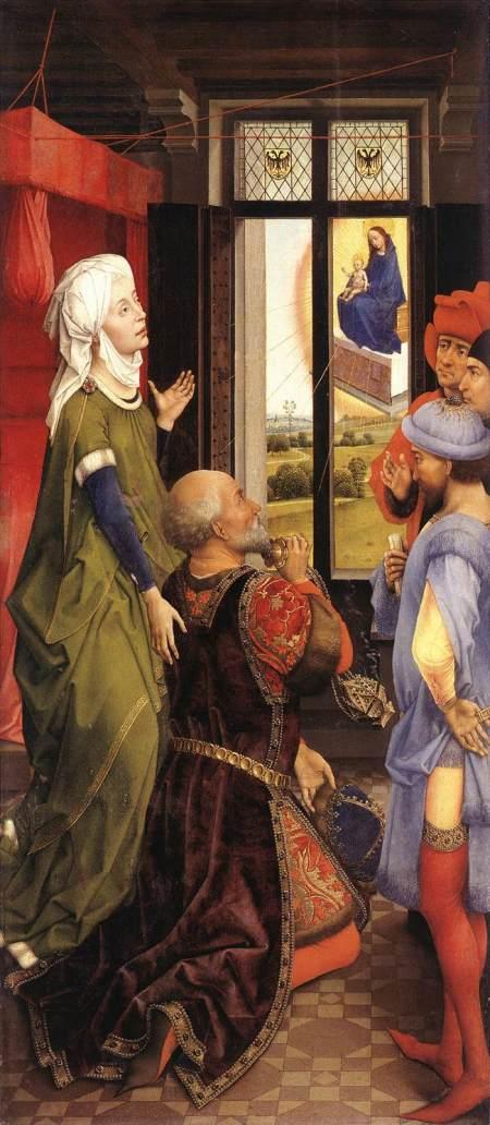 1445-48 Van der Weyden la-sibylle-de-tibur-et-la-vision-de-lempereur-auguste- Bladelin Altarpiece Gemaldegalerie, Berlin