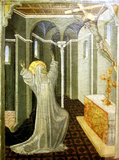 1447-65 Giovanni di Paolo Sainte Catherine of Siena Receiving the Stigmata Predelle demembree du retable des Pizzicaiuoli MET