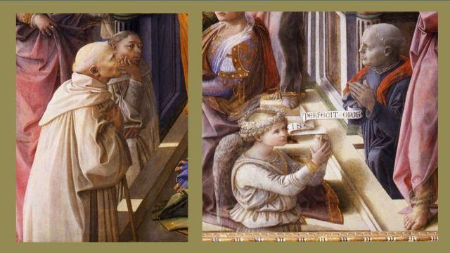 1447 Filippo_Lippi_-_Incoronazione_Maringhi Offices Florence detail