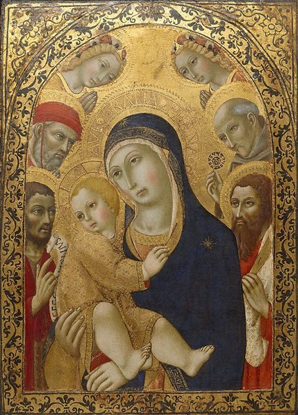 1450-80 Sano di Pietro Madonna and Child with Saints Jerome, John the Baptist, Bernardino and Bartholomew Art Gallery of New South Wales Sidney