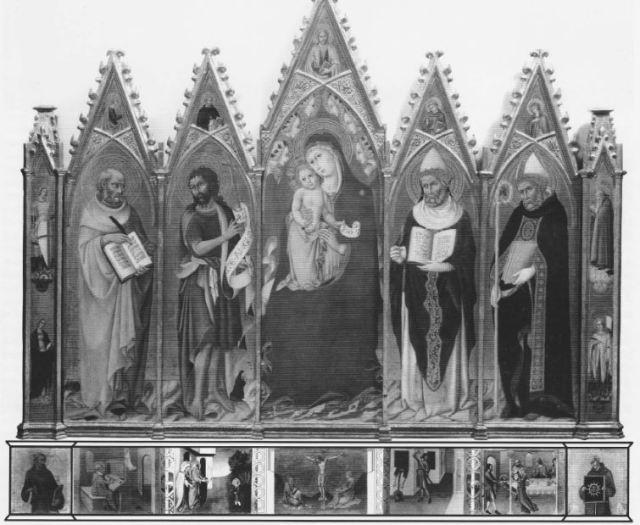 1450 ca SANO DI PIETRO Madonna con Bambino in trono tra angeli reconstitution