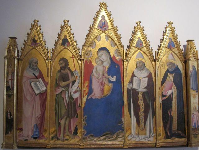1450 ca SANO DI PIETRO Madonna con Bambino in trono tra angeli e i santi Girolamo, Giovanni Battista, Gregorio Magno, Agostino e altri santi, Pinacoteca Siena.jpg