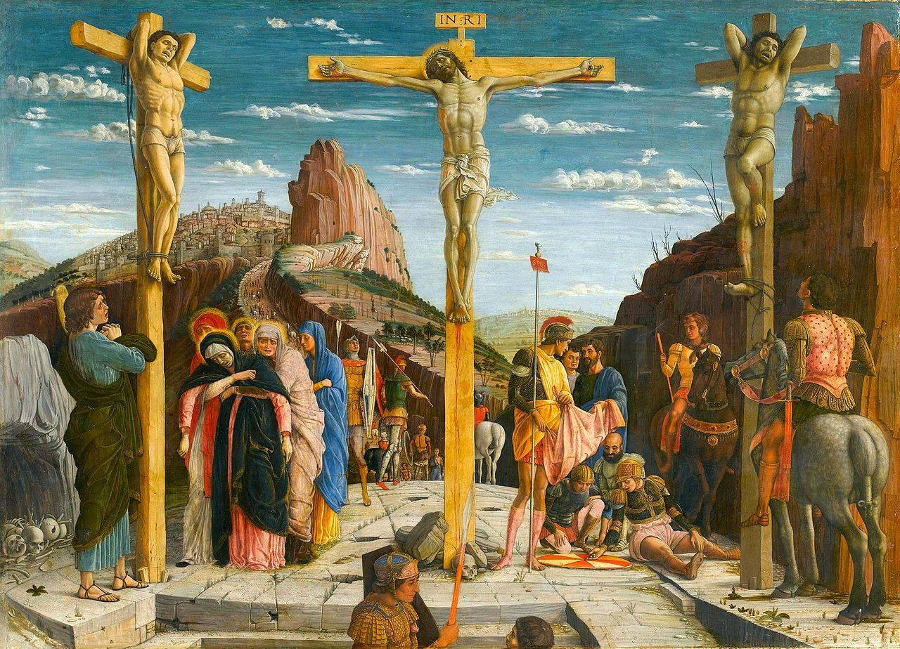 1457-60 Mantegna,_Andrea_-_crucifixion_-_Louvre_from_Predella_San_Zeno_Altarpiece_Verona