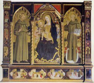1460-70 Francesco di Gentile da Fabriano, Madonna con Bambino in trono e angeli, San Francesco d'Assisi, San Bernardino da Siena Chiesa di S. Francesco Matelica .jpg