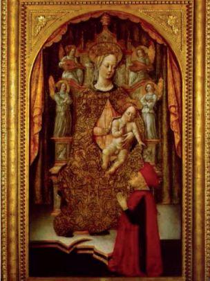 1460-74 Bembo Benedetto, Madonna con Bambino in trono, angeli musicanti e donatore Museo Civico Ala Ponzone, Cremona