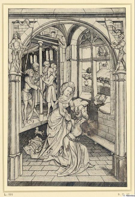 1466 ca Master ES Die Sibylle von Tibur und Kaiser Augustus Albertina