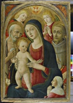 1470 - 1517 Cozzarelli Guidoccio, san Girolamo, san Francesco d'Assisi, angeli e donatrice coll priv