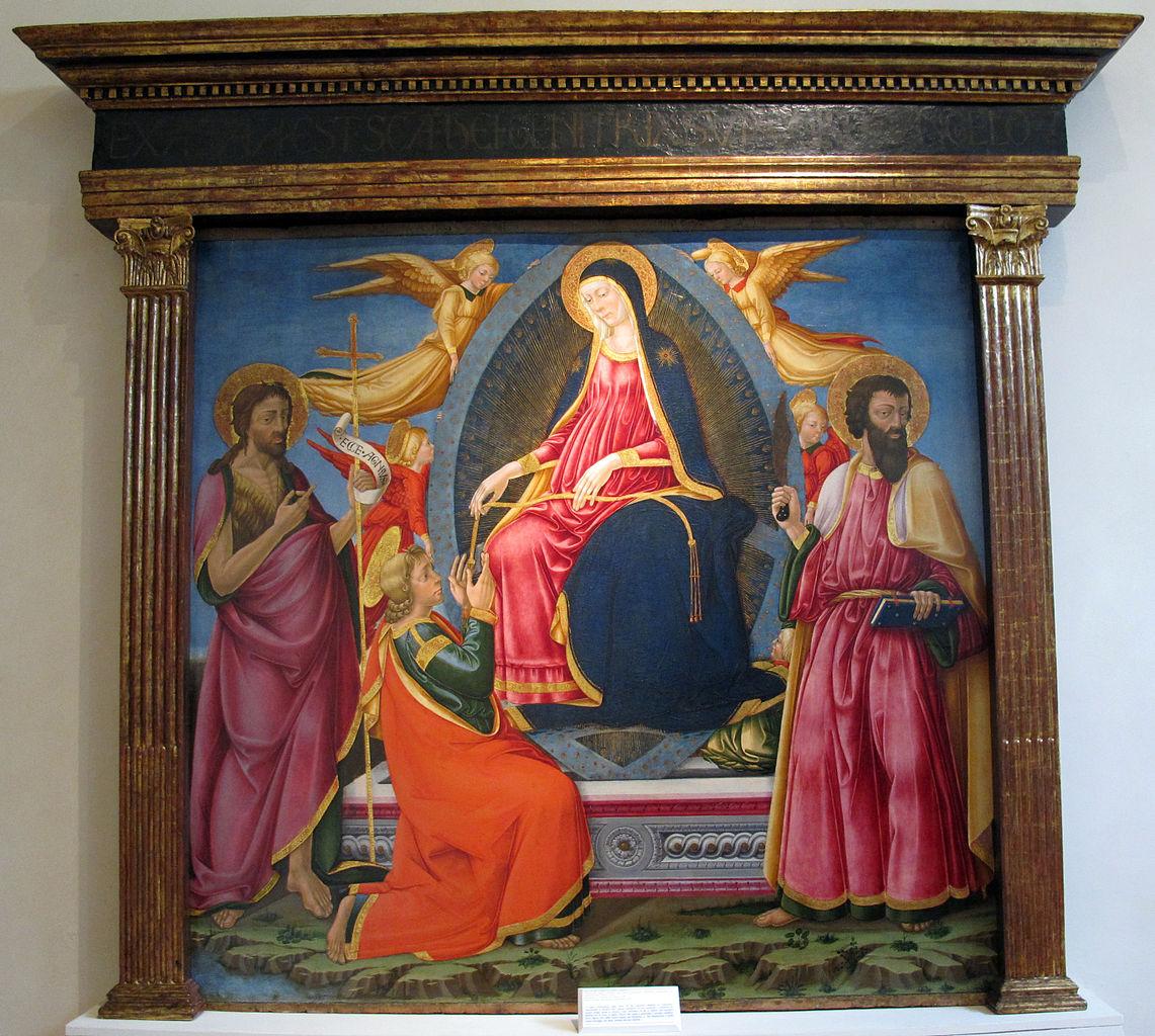 1470-75 Neri_di_bicci,_madonna_della_cintola_e_santi,__ca._da_pieve_di_corazzano_Museo diocesano (San Miniato)