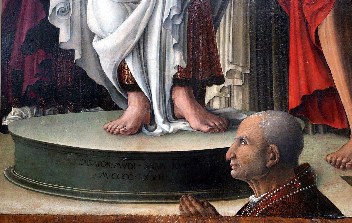 1472 Girolamo_da_cremona_(attr.) Pala Settala ,_redentore_tra_i_ss._giovanni_battista,_evangelista,_leonardo_e_pietro_martire, detail