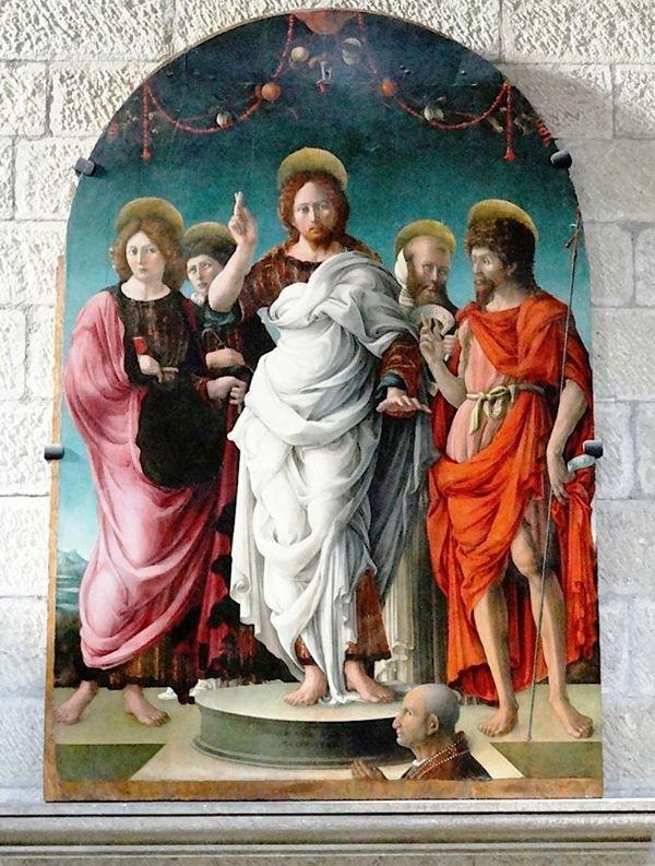 1472 Girolamo_da_cremona_(attr.) Pala Settala redentore_tra_i_ss._giovanni_battista,_evangelista,_leonardo_e_pietro_martire, Viterbo Cathedral