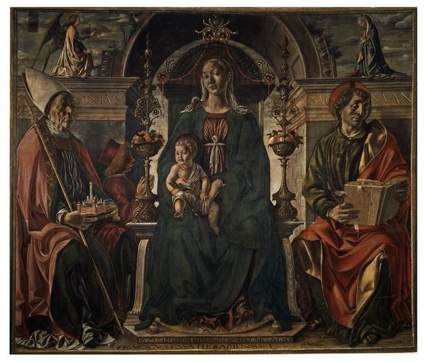 1474 Francesco del Cossa Pala dei Mercanti Santi Petronio e Giovanni Evangelista committente Alberto Cattani Pinacoteca Nazionale Bologna