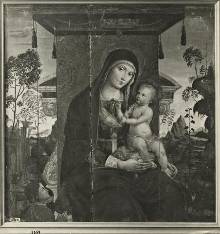 1475-1525 Anonimo umbro Madonna con Bambino in trono e donatore Musée des Beaux-Arts, Rouen