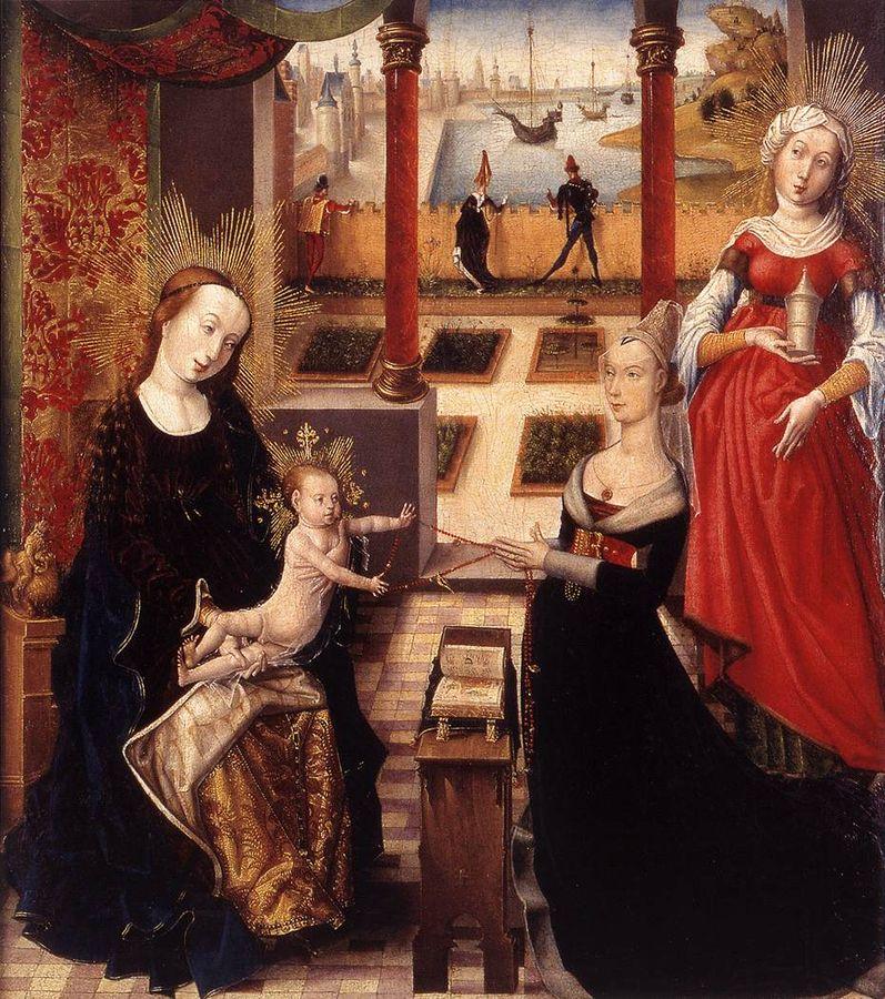 1475 Maitre de la vue de Sainte-Gudule, La Vierge à l'Enfant avec une jeune femme en priere et sainte Marie-Madeleine, Liege, Musee Grand Curtius