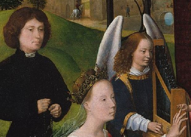 1479-80 Hans_Memling_-_The_Mystic_Marriage_of_St_Catherine MET detail