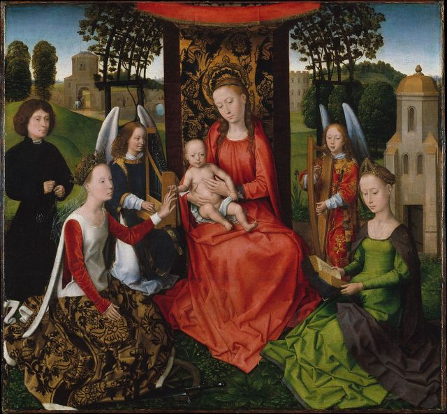 1479-80 Hans_Memling_-_The_Mystic_Marriage_of_St_Catherine MET