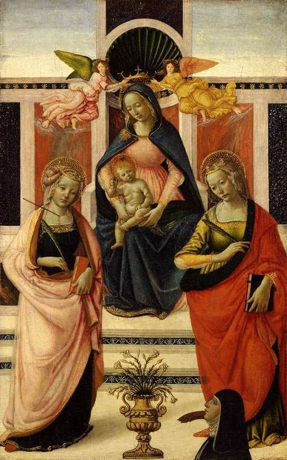 1480-90 Davide Ghirlandaio sant'Orsola, santa Caterina d'Alessandria e donatrice Fitzwilliam Museum, Cambridge