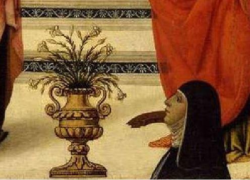 1480-90 Davide Ghirlandaio sant'Orsola, santa Caterina d'Alessandria e donatrice Fitzwilliam Museum, Cambridge detail
