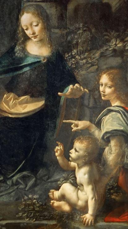 1483-86 Vinci Vierge aux rochers Louvre Paris detail
