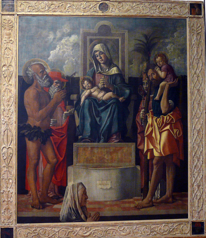 1484 Bonsignori Francesco, Pala Avogadro sant'Onofrio, san Girolamo, san Donato, san Cristoforo e donatrice Castelvecchio Verone
