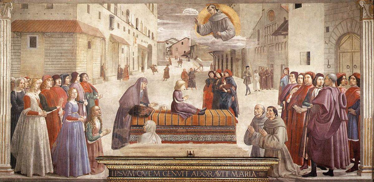 1485 Cappella_Sassetti_Resurrection_of_the_Boy