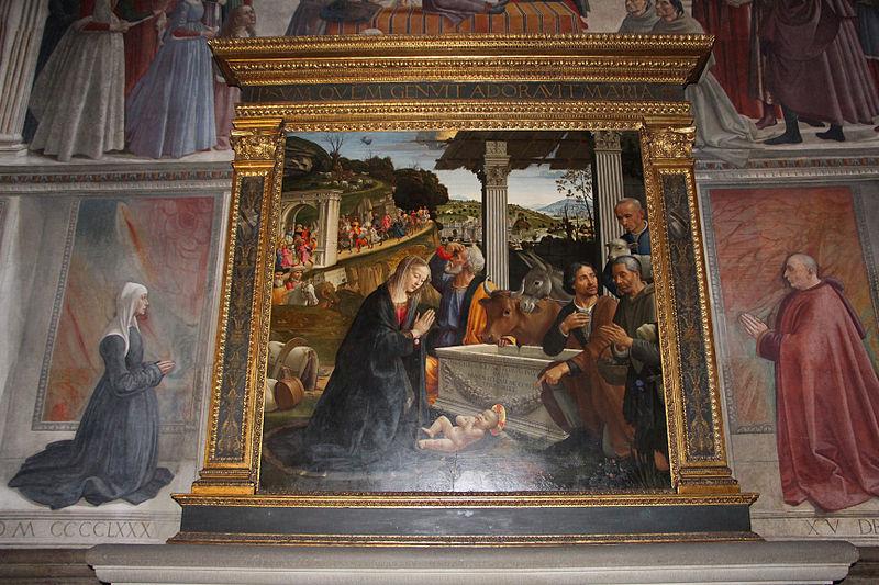 1485 cappella Sassetti Domenico_ghirlandaio,_adorazione_dei_pastori basilica di Santa Trinita Firenze