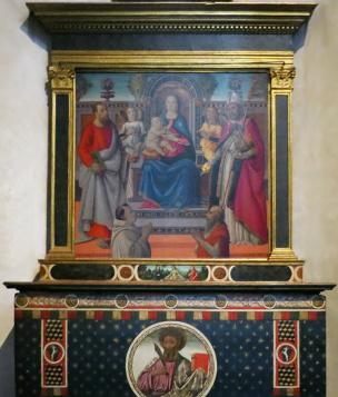 1486 - 1513 Rafaellino del Garbo, san Bartolomeo, san Nicola di Bari e donatori, Chiesa di S. Spirito, Firenze