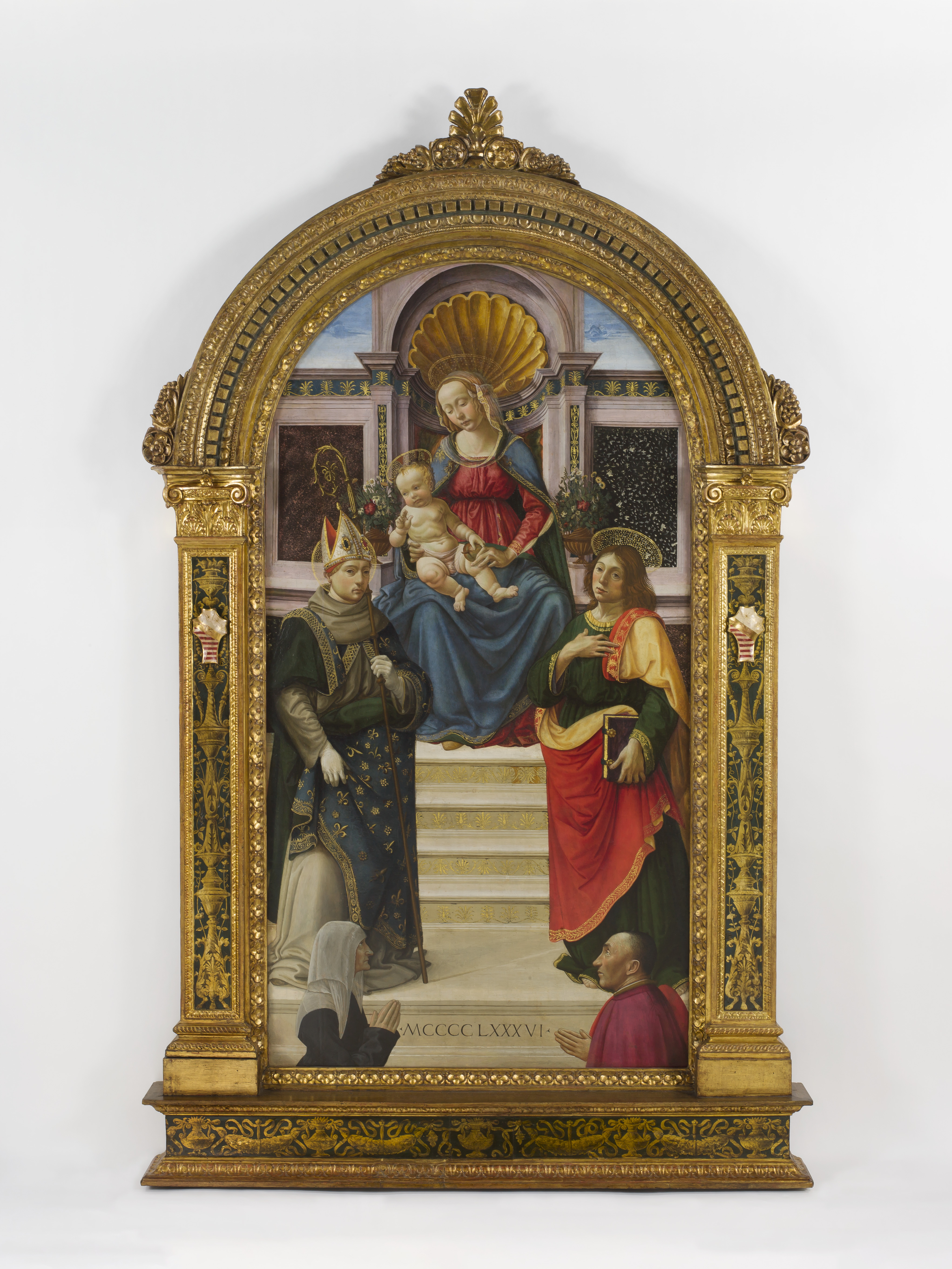 1486 Davide Guirlandaio St Louis of Toulouse, John Evangelist, and Donors Ludovico Folchi and his wife Tommasa Saint Louis Art Museum, Missouri,