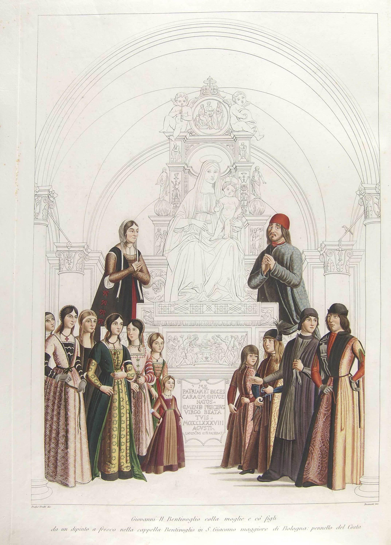 1488 Lorenzo_Costa_-_Giovanni_II_Bentivoglio_and_His_Family gravure de Giuseppe Bramati