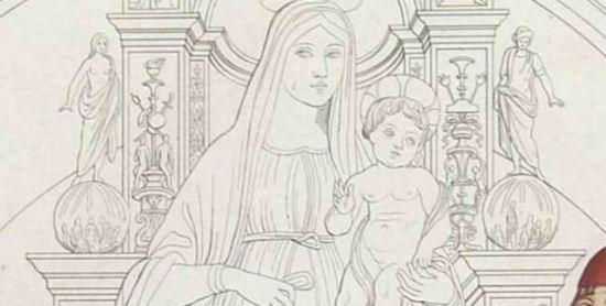 1488 Lorenzo_Costa_-_Giovanni_II_Bentivoglio_and_His_Family gravure de Giuseppe Bramati statues