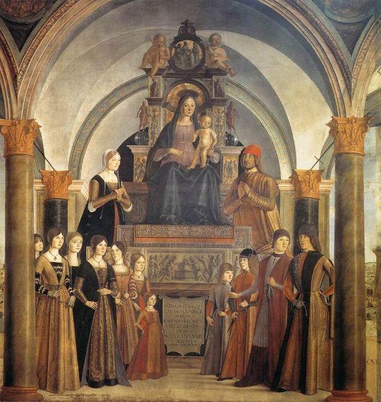1488 Lorenzo_Costa_-_Giovanni_II_Bentivoglio_and_His_Family_Bentivogilo chapel San Giacomo Maggiore (Bologna)