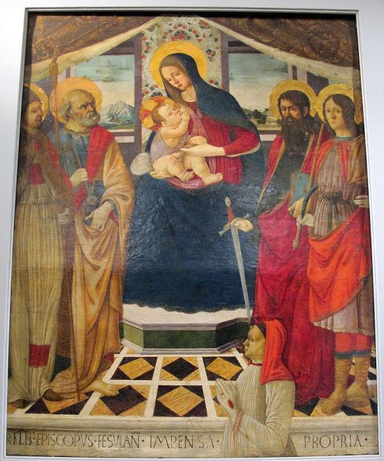 1490-1510_ca Bottega_del_ghirlandaio,_madonna_col_bambino,_santi_e_il_donatore_roberto_folchi,Museo Masaccio, Reggello