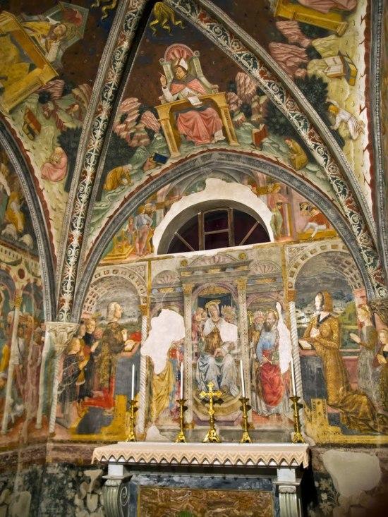 1490 ca Guglielmo VIII di Monferrato et 3 conseillers, et Bernarda di Brosse (filles Giovanna et Bianca) cappella Santa margarita santuario di crea