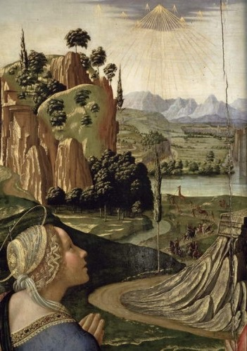 1492 ca Ghirlandaio_Christ_in_Heaven_with_Four_Saints_and_a_Donor Pinacoteca Comunale, Volterra detail girafe
