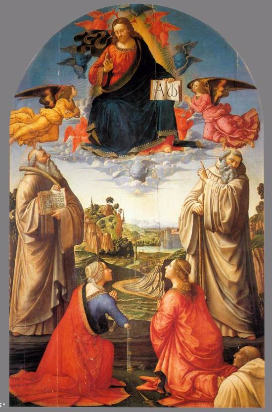 1492 ca Ghirlandaio_Christ_in_Heaven_with_Four_Saints_and_a_Donor Pinacoteca Comunale, Volterra