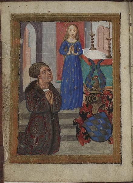 1494. Erbauungs-Buchlein fur Herzog Sigismund von Bayern-Munchen. Der Herzog vor Maria im Ahrenkleid. Nürnberg (Bayerische Staatsbibliothek, C