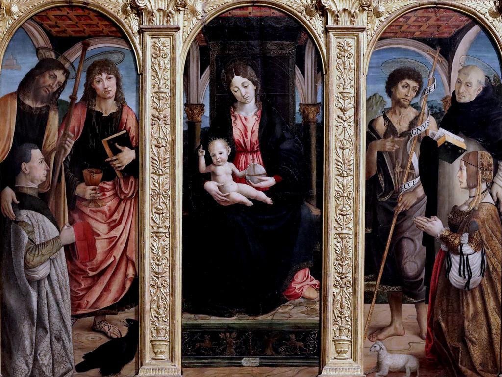 1495 Macrino d'Alba.(Gian Giacomo de Alladio) Giacomo, Giovanni Evangelista, Giovanni Battista,Tommaso d'Aquino Palazzo Madama, Torino JL Mazieres