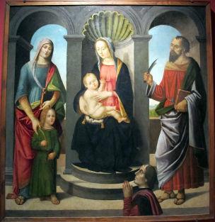 1498-1500 Pietro del donzello, Pietro del Donzello, san Quirico, santa Giulitta, san Bartolomeo e donatore Museum of Incisa in Val d'Arno