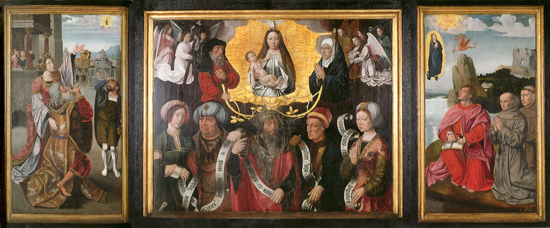1500-25 Maitre du Saint Sang Glorification Vierge Ara Coeli, Madonne avec Sybilles, Saint Jean Patmos, Saint-Jacques Bruges