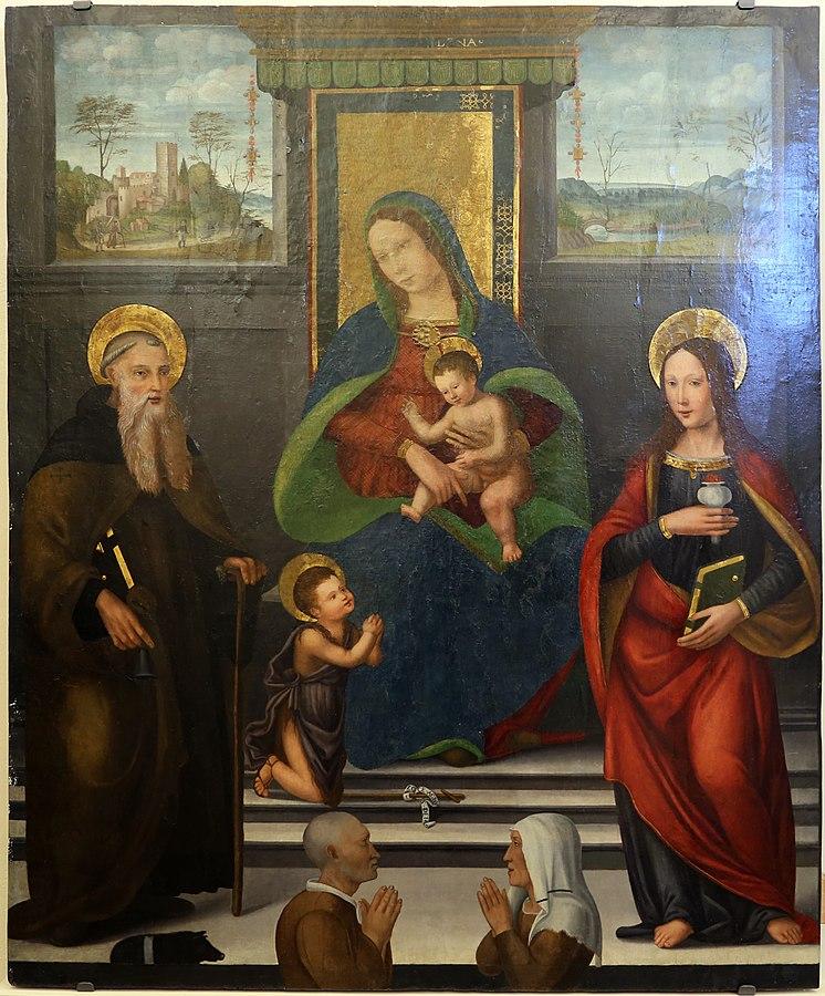 1500-25 Pittore_fiorentino,_ss._antonio_abate_e_elucia_e_i_committenti,_ da_s._martino_a_sezzate Museo San Francesco (Greve in Chianti)