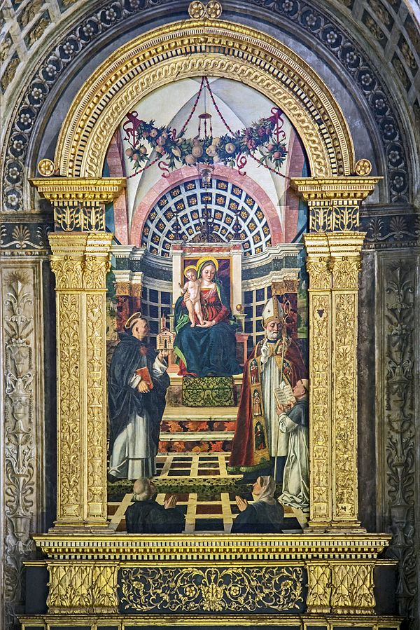 1502 Girolamo dal Libri Pala Centrego - Our Lady enthroned between St. Thomas and St. Augustine Basilica Santa Anastasia of Verona