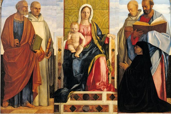 1505 - 1510 Giovanni_Bellini_and_studio_-_Pala_Priuli Pierre Benoit Paul Romuald Camaldules Pietro Priuli Museum Kunstpalast Dusseldorf sans cadre