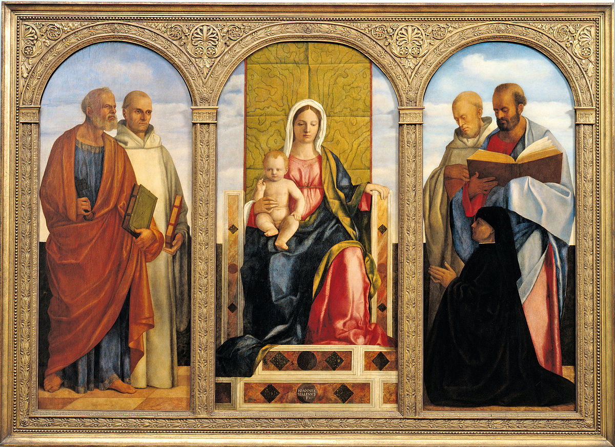 1505 - 1510 Giovanni_Bellini_and_studio_-_Pala_Priuli Pierre Benoit Paul Romuald Camaldules Pietro Priuli Museum Kunstpalast Dusseldorf