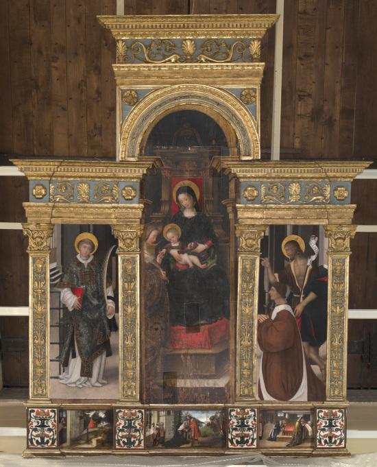 1508-09 Girolamo_giovenone Polittico con lo Sposalizio mistico di Santa Caterina centre Cavour volet Defendante Ferrari chiese d'avigliana