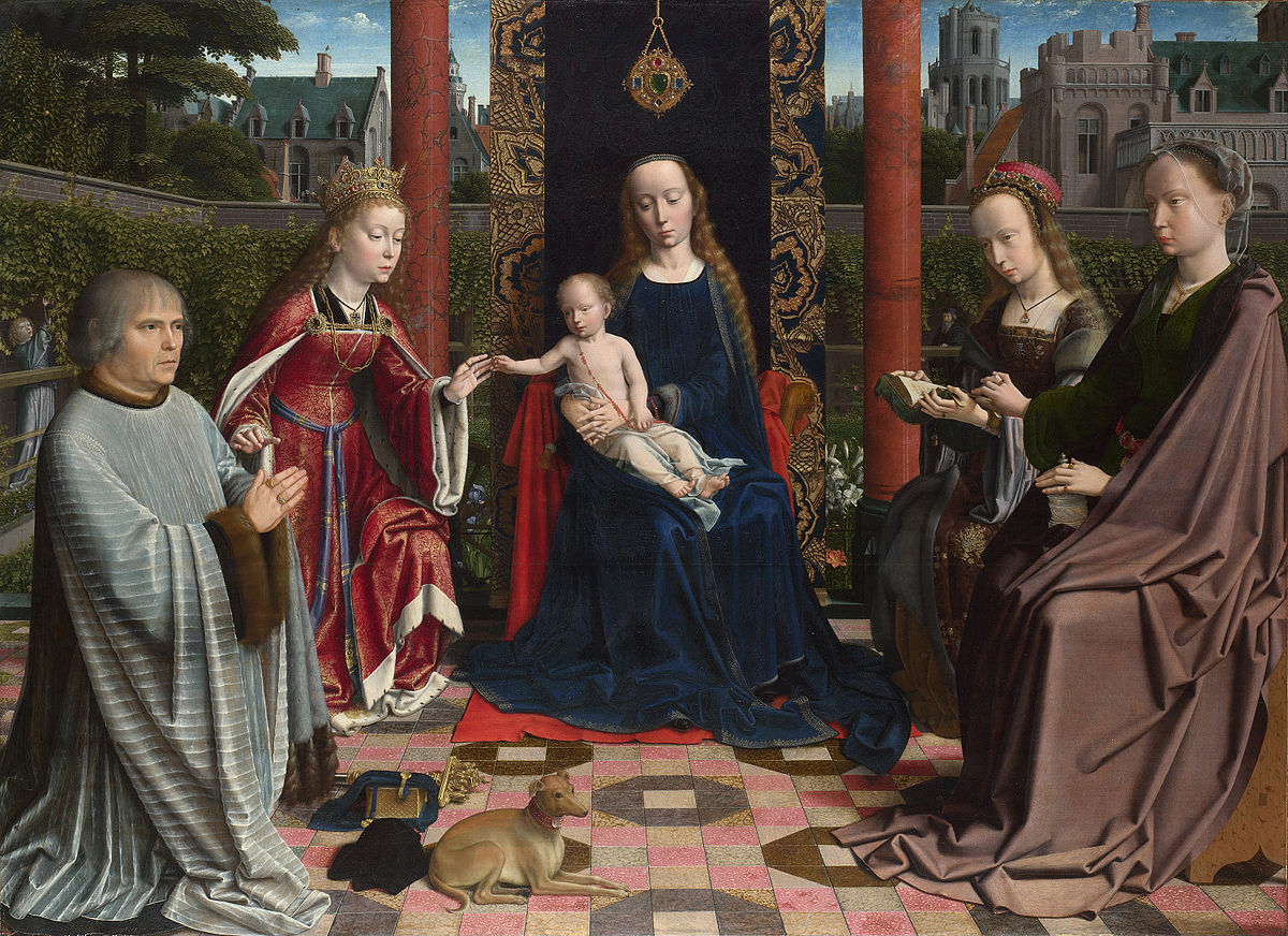 1510 ca Gerard_David_-_The_Virgin_and_Child_with_Saints_and_Donor_-National Gallery