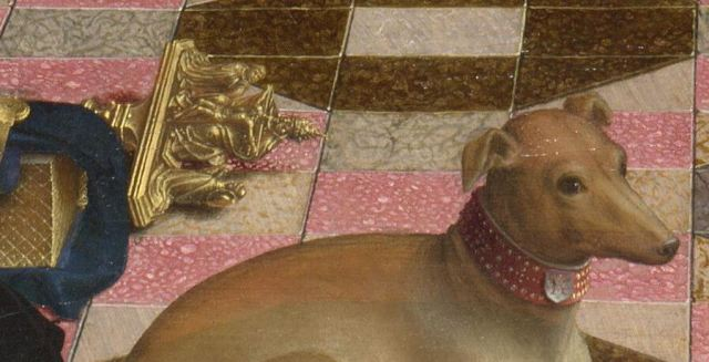 1510 ca Gerard_David_-_The_Virgin_and_Child_with_Saints_and_Donor_-National Gallery detail chien