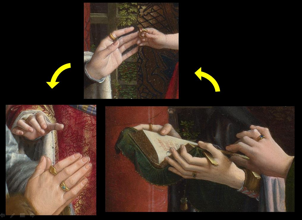 1510 ca Gerard_David_-_The_Virgin_and_Child_with_Saints_and_Donor_-National Gallery detail mains